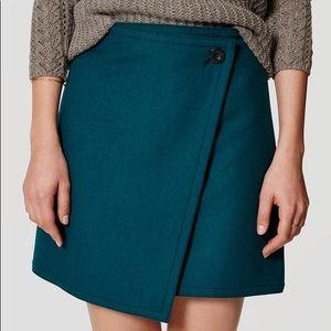 LOFT Teal Wooly Button Wrap Skirt